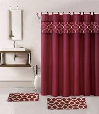 1 SHOWER CURTAIN FABRIC HOOKS  BATHROOM SET BATH MATS BURGUNDY GEOMETRIC