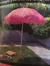 Hawaiian Style Parasol PINK Tiki Straw Outdoor Patio Garden Sun Umbrella BNWT