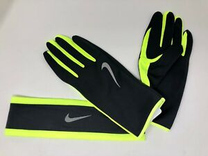 NIKE Men's Dri-Fit Running Headband/Glove Set 2.0 Sz L/XL Anthracite/Volt/Silver