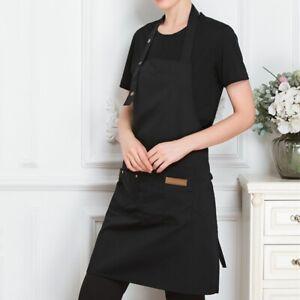 New Work Apron Kitchen Pinafore Cafe Bakery Restaurant Workwear Bib Dress Pocket