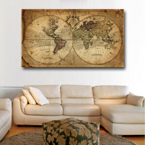wall art canvas print picture wall picture art canvas painting decor World map