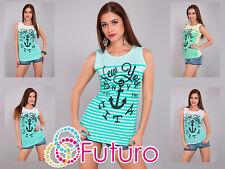 Ladies Vest Top NY CITY Print Sleeveless Cotton T-Shirt Tunic Sizes 8-14 FB42