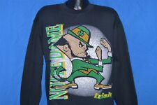 vintage 90s NOTRE DAME BLACK PUFFY FIGHTIN IRISH CREWNECK SWEATSHIRT LARGE L
