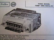 1957 FORD 78MF ( FEG-18806-G ) RADIO PHOTOFACT