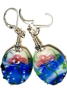Large Silver Blue, White, Pink Leverback Statement Earrings Glass Flower Bead
