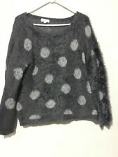 Joseph A. qu'est-ce que c'est silk Size XXL Gray Polka Dot Sweater Top Women