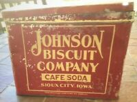 Antique Johnson Biscuit Company Cafe Soda Advertising Tin Sioux City Iowa 1930s