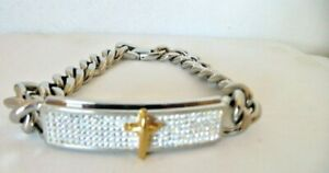 Men's Solid Stainless Steel Two Tone Cross ID CZ  Cuban Link Bracelet 9 Inches