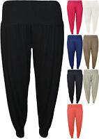 New Plus Womens Plain Full Length Ladies Ali Baba Harem Pants Trousers 14-20