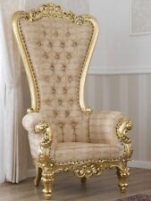 Poltrona Regina stile Barocco Francese trono foglia oro tessuto damascato avorio