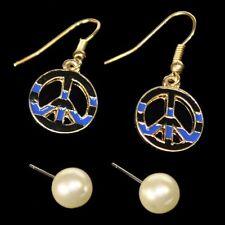 Set 2 Paire de boucles d'oreilles perles Goujon paix bleu or noir