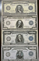 Reproduction Set 1918 Fed Reserve Notes $500, $1000, $5000, $10,000 High Denom