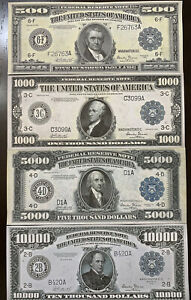 Reproduction Set 1918 Fed Reserve Notes $500, $1000, $5000, $10,000 High Denom