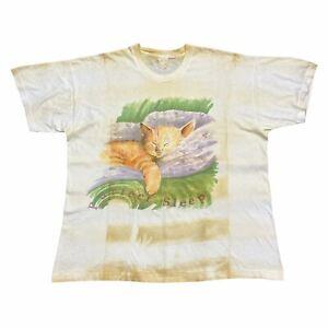 Purfect Sleep Kitten Art Print Tshirt   Vintage 90s Single Stitch Animals Cats