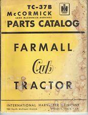 New ListingInternational Harvester McCormick Farmall Cub Tractor Parts Catalog Tc-37B 1951