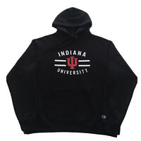 Vintage Champion Hoodie Indiana University Hoosiers Mens Large/XL College Black