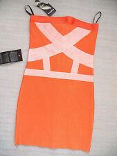 NWT bebe orange coral strapless colorblock tube bandage club top dress L large
