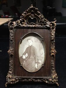 "Antique Composition Frame Pic Early Mid C. 20th C Oak & Gesso 5x7"" Oval Opening"