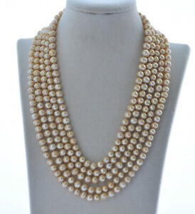 """Z10643 Long 100"""" 8mm Yellow Round Freshwater Pearl Necklace"""