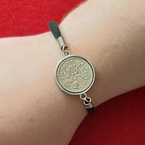 Lucky Sixpence Leather Bracelets Various Colours, Birth Dates Etc