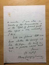 Sir Henry Hardinge Cunynghame - 1916 letter: food supplies in time of war