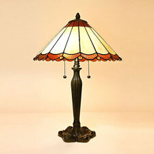 """Tiffany Style Beige Scallop Table Lamp 16"""" Shade 2 Pull Lights Handcrafted New"""