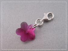 Pendentif charm breloque fleur cristal Swarovski et argent 925/1000e CS31