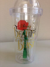 Disney Beauty And The Beast Red Rose Light Up Plastic Sipper Tumbler Cup w/Straw