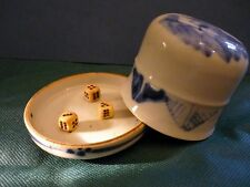 China 1900-1940 rare DICE Cup with Plate in Porcelain    骰子  Qing Dynasty-