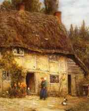 Old English Thatched Cottage Woman Children 8x10 Print Vintage Farm 138