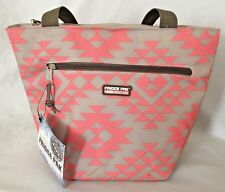 """Pink Gray 5X9X12"""" FRIGE PAK Thermol Purse Lunch Bag w 2 Pockets Two 15"""" Handles"""