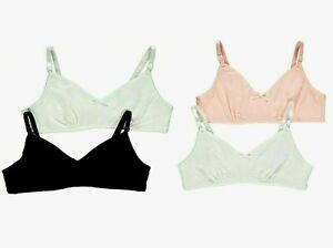 GIRLS NON PADDED COMFORT FIRST BRA BLACK AND WHITE 2 PACK