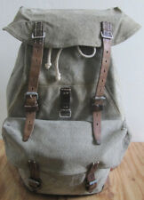 Vintage 1963 Swiss Army Military Canvas Leather Backpack Rucksack EUC