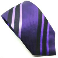 "Marks & Spencer Men's Tie Purple Black Striped Polyester 3.5"" Wide 60"" Long"
