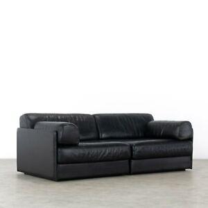 De Sede DS76 - Sofa & Daybed in black Leather - 1972 by De Sede Design Team