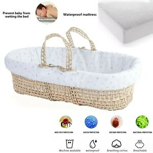 Baby Moses Basket Mattress Protector Waterproof Fitted Terry Sheet