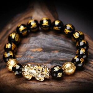 Feng Shui Black Obsidian Alloy Wealth Bracelet Original Quality Natural Stone