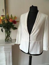 TAIFUN Ladies Designer Jacket to fit U.K. 16 White Textured 3/4 Sleeves UNWORN.
