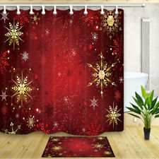 Christmas Bath Curtain Gold and Red Jewelry Snowflakes Waterproof Fabric Curtain