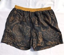 Vintage Partick Einhorn Paris Swim Trunks Light Weight Nylon Black Gold Mens L