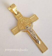 "INRI 14k yellow Gold saint Benedict benito Crucifix Cross Pendant 1.3"" lg 2 side"