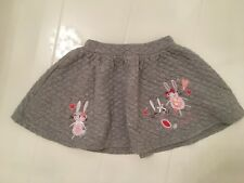 TU SAINSBURYS GREY QUILTED SKATER STYLE SKIRT–BUNNY RABBITS – 4-5 YR / 104-110cm