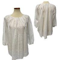 Chaps women's top blouse tunic white crew neck size 2X (G-1H)