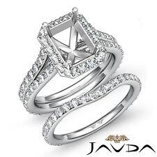 Radiant Diamond Semi Mount Engagement Ring Bridal Set 18k Gold White 1.70 ct.