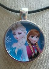 """ Disney's Frozen Beautiful ELSA & ANNA "" Glass Pendant with Leather Necklace"