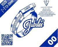 "SIZE 00 GENUINE JUBILEE HOSE CLIPS STEEL BZP RANGE 13MM TO 20MM / 1/2"" TO 3/4"""