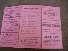 SOUTH SHIELDS  v WHITBURN  Original Cricket Club Score Card  21/04/1956
