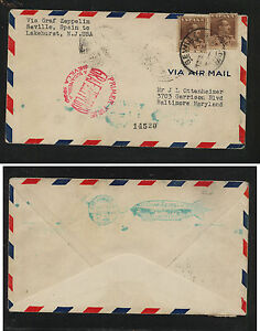 Spain   344  (2)  on   Zeppelin flight cover to US   1930       KEL0602