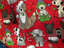"20"" Christmas Tree Skirt dogs in Santa hats"