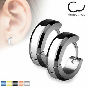 Mens / Ladies Surgical Steel IP Bevelled Edge Huggie Hoop Earrings